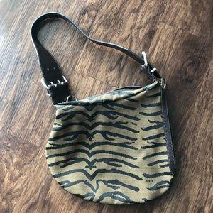 Fendi Zebra-Printed Jacquard Oyster Bag
